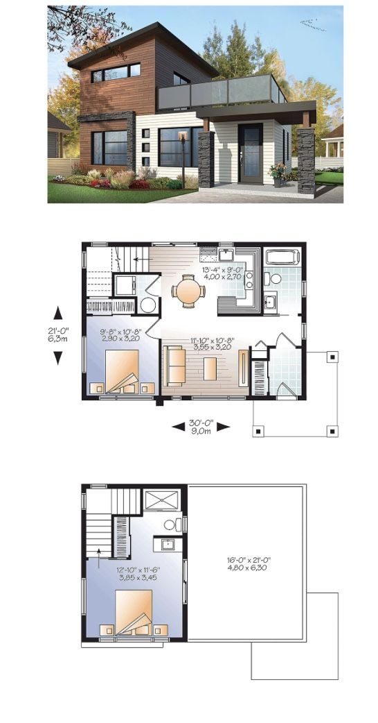 I Would Redesign The Upstairs But This So Cute 700 Sq Ft 2 Bedroom Modern Style House Plans Sims House Plans House Plans