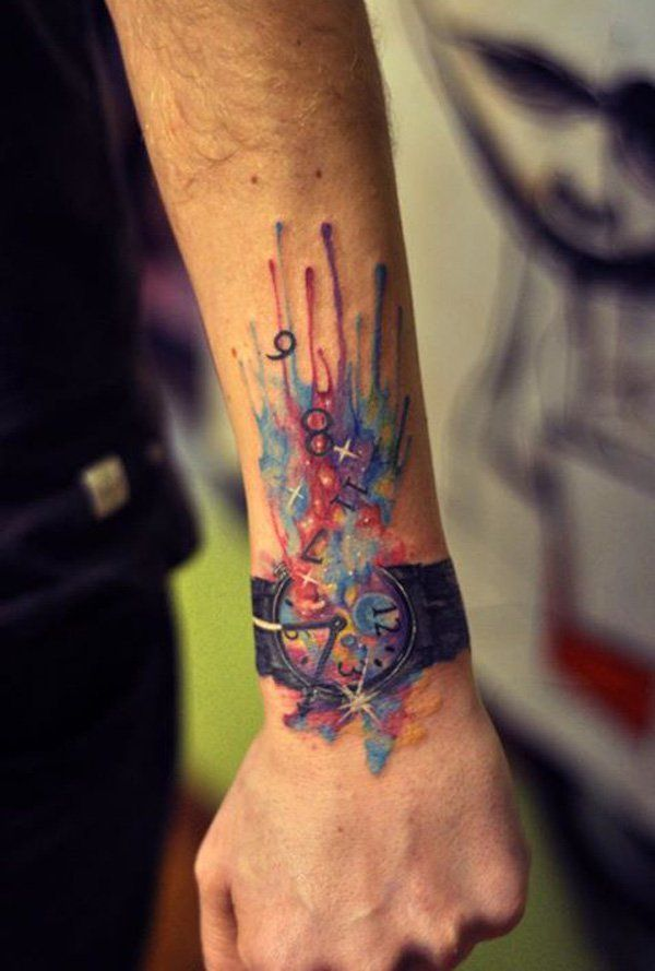 Time warp watercolor tattoo - 65  Examples of Watercolor Tattoo  <3 !