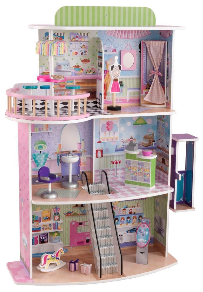 New Kidkraft Shopping Centre Large Wooden 3 Story High Girls Dollhouse Wooden Barbie House Dolls House Shop Barbie House