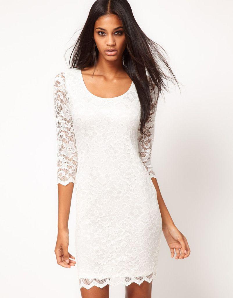 Top Fashion Designer Women\'s 3/4 Sleeve O Neck Mini Tight Sexy Lace ...