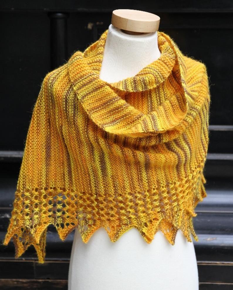 Photo of PDF knitting pattern scarf, garter stitch lace, reversible shawl, wrap: Ishka
