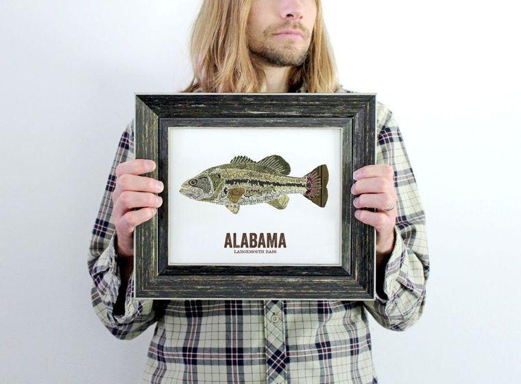 Alabama State Fish Map art Nature Outdoor