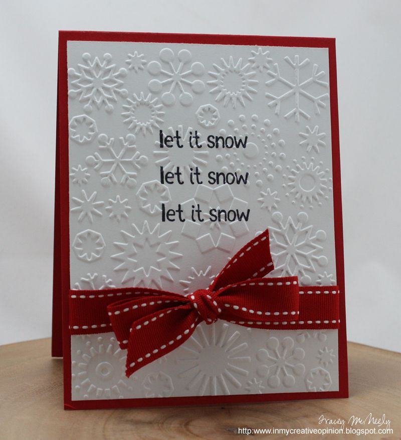 Let it snow-I think one of the embossing plates which I rediscovered when clearing the garage does snow….we have letter stamps-easy peasy!