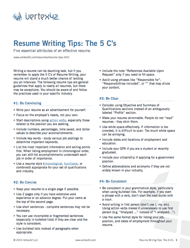 Free Printable Resume Writing Tips Pdf From VertexCom  Cover