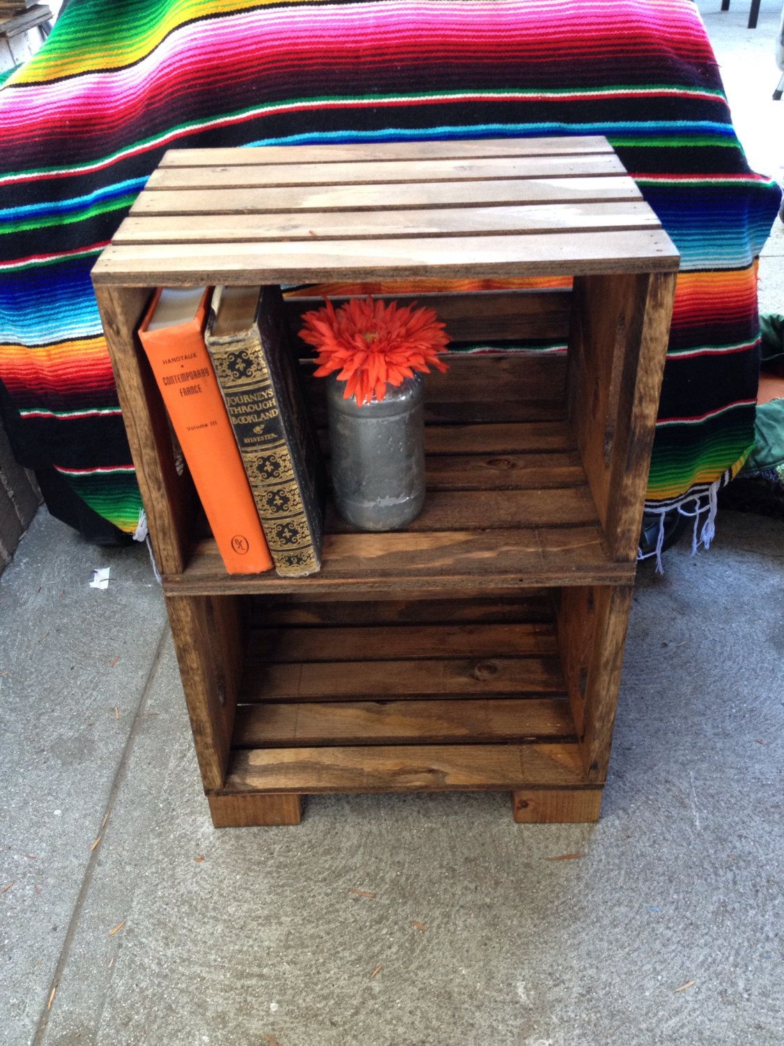 Handmade Wood Crate Night Stand (Original/Provincial) by