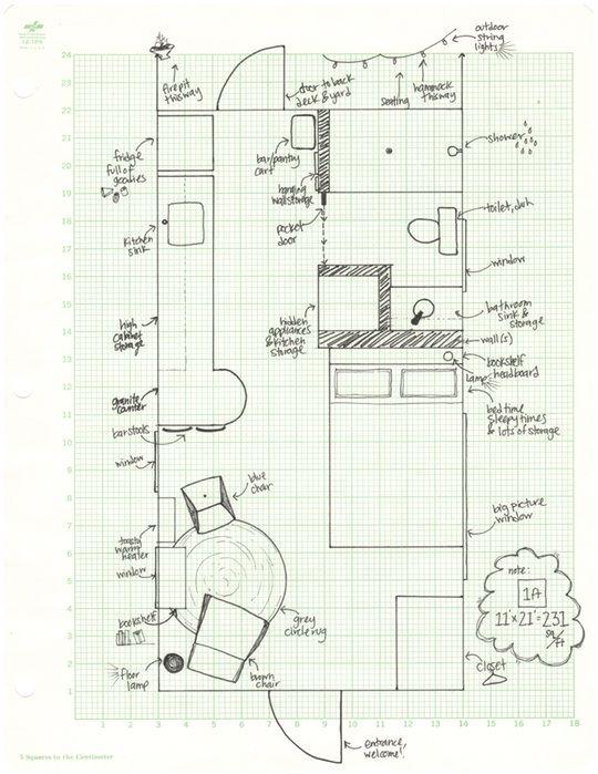 """Zoe's """"Dream Studio Floor plan for an 11X21 studio"""