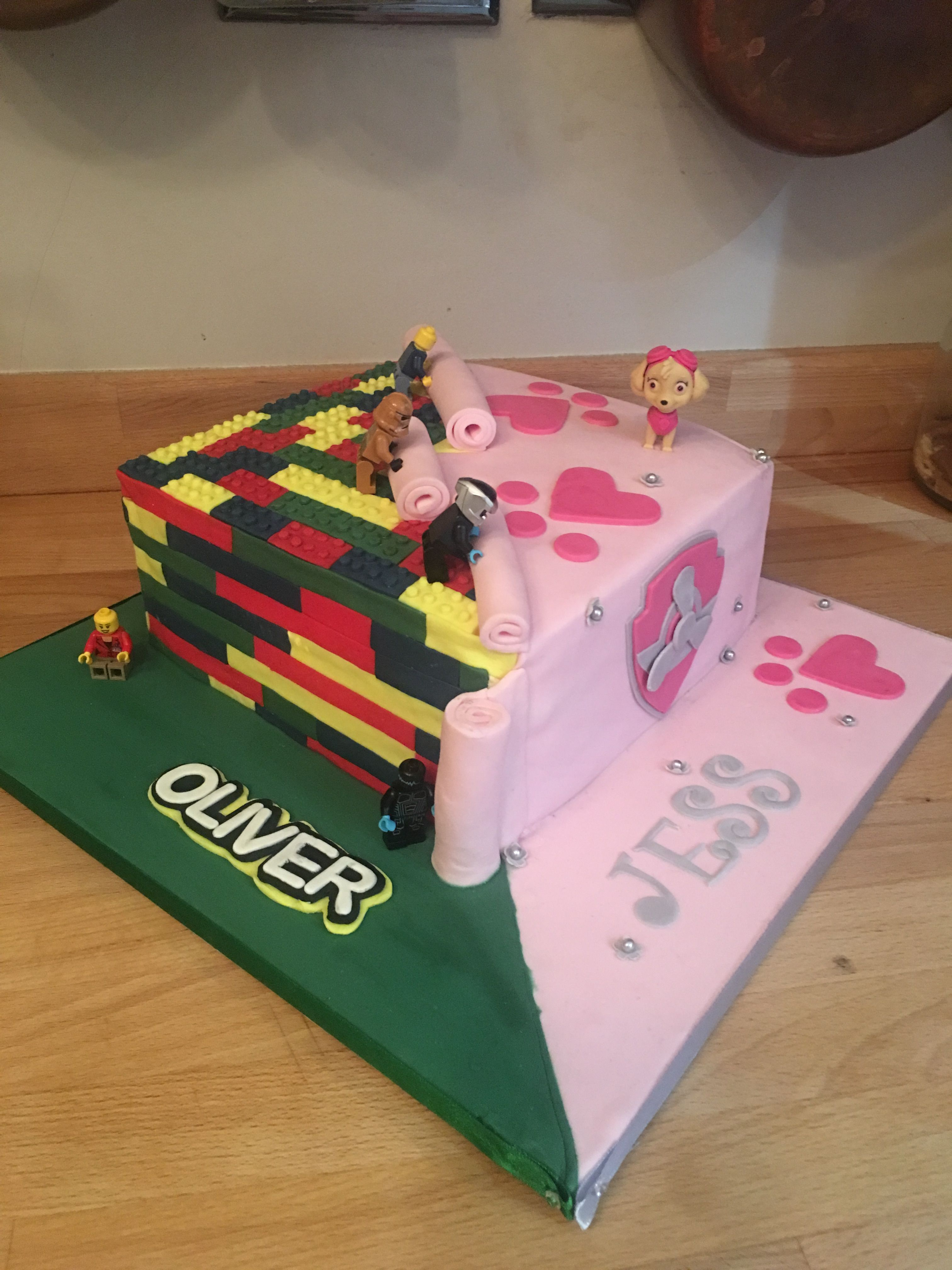 Superb Twins Boy And Girl Lego And Paw Patrol Cake Paw Patrol Birthday Funny Birthday Cards Online Inifodamsfinfo