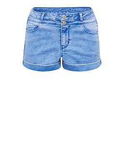 Light Blue Faded High Waisted Turn Up Denim Shorts  | New Look