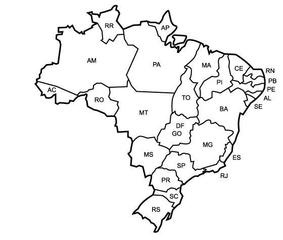 Mapa Do Brasil Com Suas Regioes Desenho Colorir Jpg 560 476