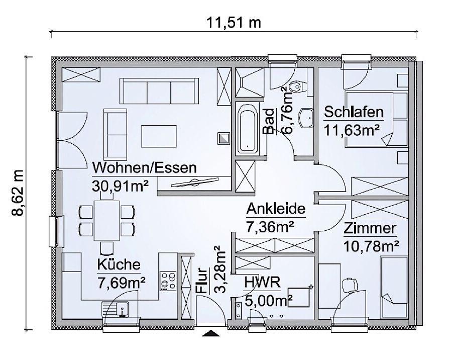 Doppelhaus Grundriss ebenerdig mit Walmdach Architektur, 3