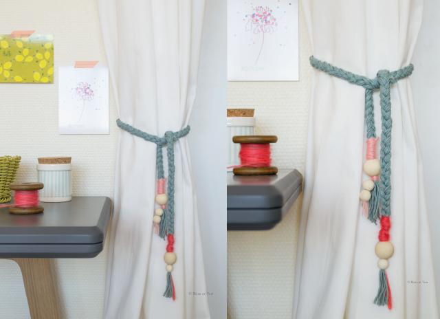 rose et vert diy embrasse rideau diy pinterest le. Black Bedroom Furniture Sets. Home Design Ideas