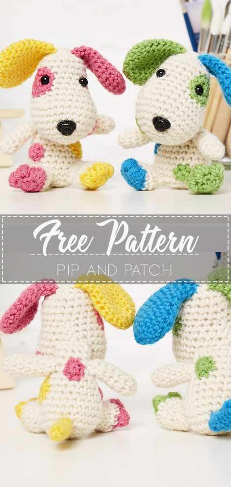 Pip and Patch – Pattern Crochet Free #crochet #freecrochetpattern #crochetamd #crochetlove #diy #tutorialcrochet #videocrochet #pattern #crochetanimals