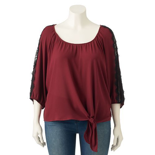 HeartSoul, Juniors' Plus Size Lace Tie Front Peasant Top, Girl's, Size:  3XL, Brt Red