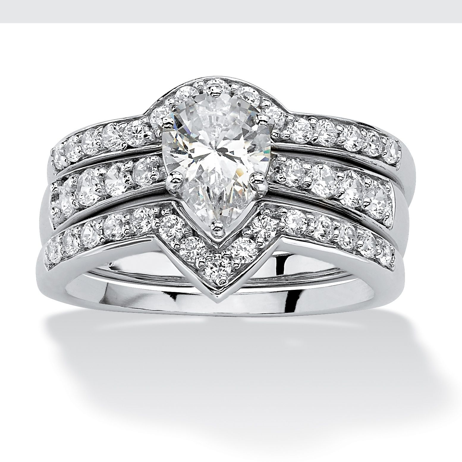 0596e21198 Show-off in sparkling style - wear our shimmering cubic zirconia ring three  piece set reflecting pure glamour