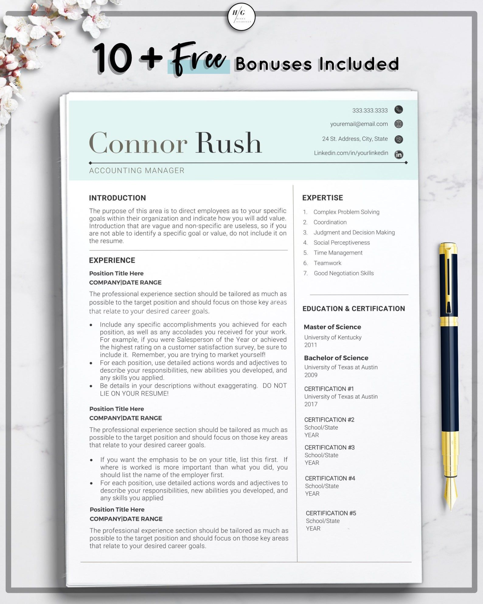 Accountant Manager Resume Template Cv Template For Word Etsy Resume Template Free Planner Templates Resume Template Word