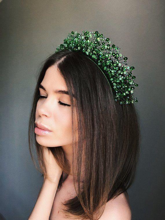 crystal headpiece, green headdress, crystal tiara, green crown, hair vine, fairy crown, forest bride #crowntiara