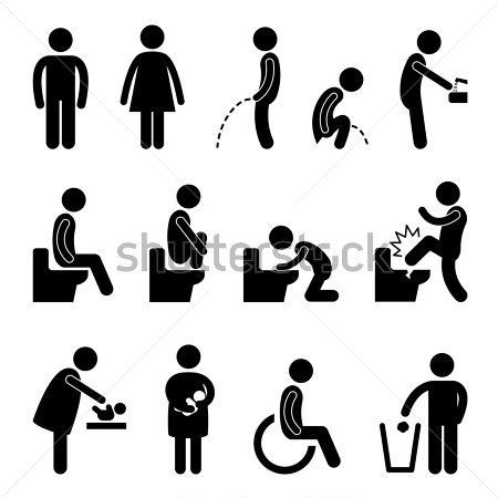 pictogramas aseos | Toilet Bathroom Male Female Pregnant Handicap Public  Sign Symbol Icon .
