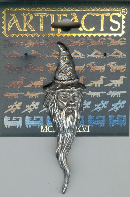 Pewter Wizard with Crystals on Hat Pin by JJ  #PinorBrooch