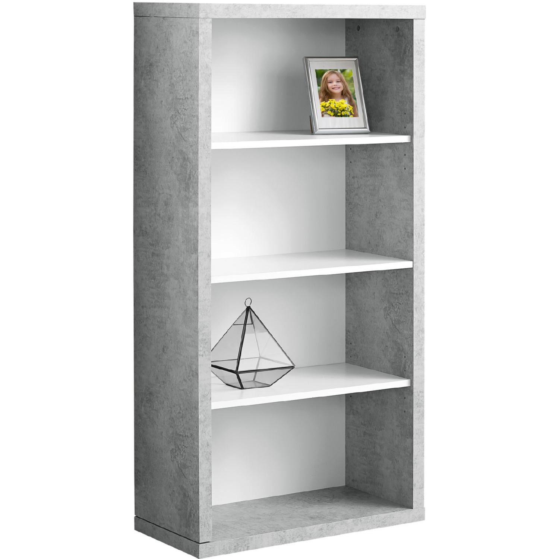 Monarch 48 Bookcase White Cement Look Adj Shelves In 2020 White Bookcase Adjustable Shelving Bookcase