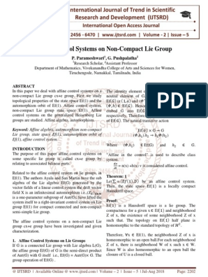 Affine Control Systems on Non-Compact Lie Group | Math