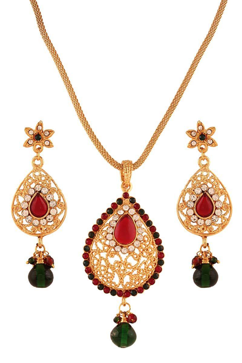 Multi gold plated austrian diamond pendant set pendant sets