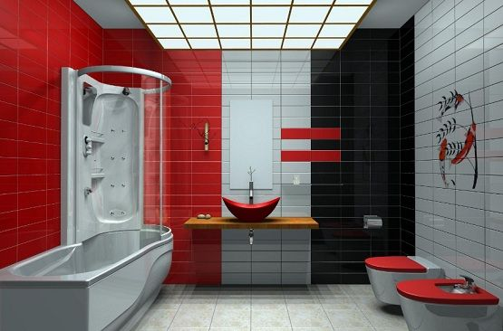 Red And Black Bathroom Pictures Color Pattern White Tiles Ideas