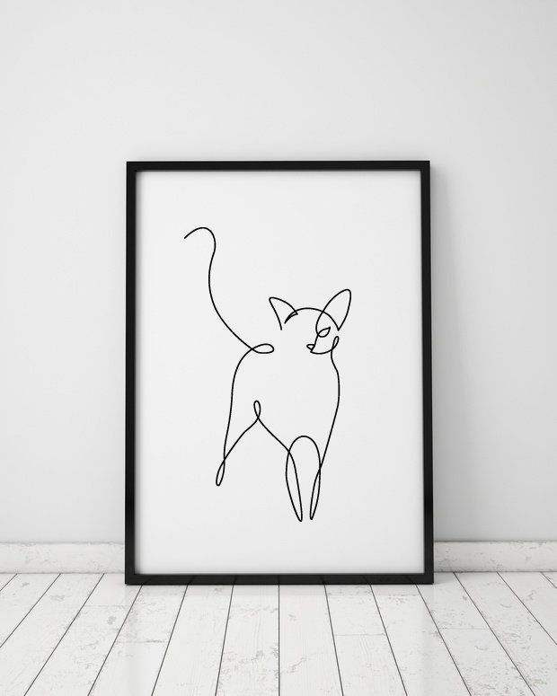 Abstract cat one line drawing, wall decor print, Miimalist art, Animals printable art, black and white large print,  single continuous line