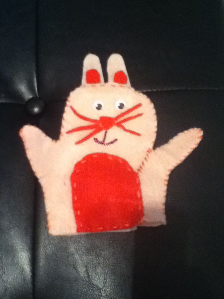 Pink bunny hand puppet I made for my Erin. I had to make an 'addition' to one side of the bunny because I underestimated the size of Erin's hands.
