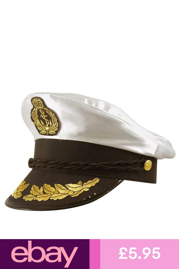 Adults Deluxe Captains Naval Officer White Satin Fancy Dress Hat Fancy Dress Hats Costume Hats Fancy Dress