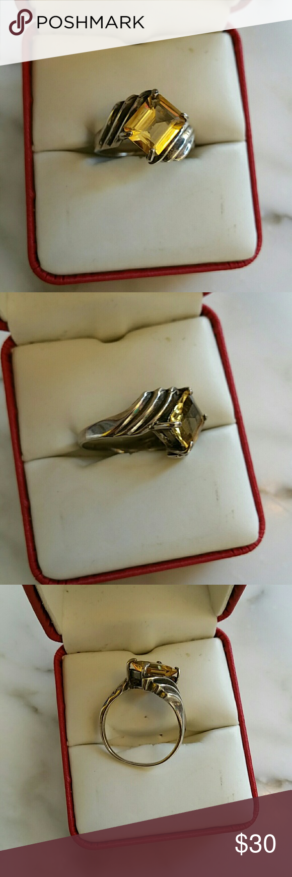 Sterling Silver Citrine emerald cut ring. Size 8.5 Twisted sterling .925 setting w/approxn 1.25ctw emerald cut citrine stone. Size 8.5 sterling silver  Jewelry Rings