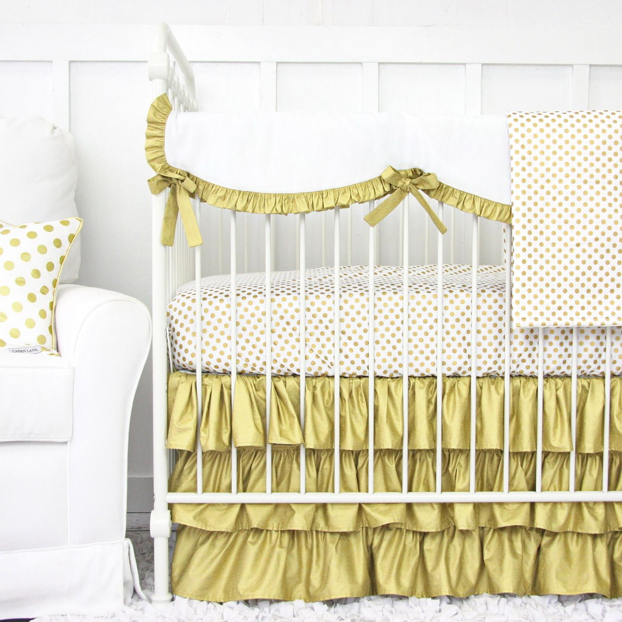Gold And White Ruffle Baby Bedding Gold Dot Crib Set Baby Bed Gold Baby Bedding White Baby Bedding