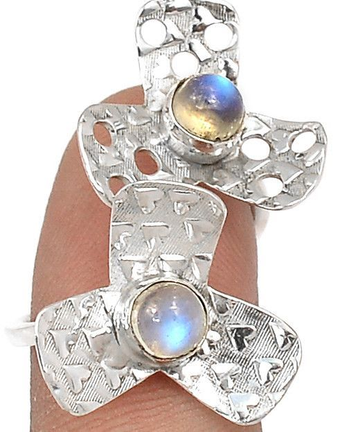 Art Nouveau Moonstone 925 Sterling Silver Heart Promise Ring Size 7