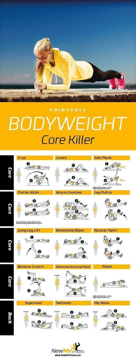 Bodyweight Core Killer u  Healthy  Pinterest  Workout Exercises