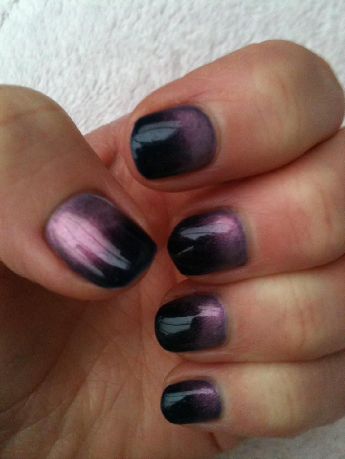 two tone gel manicure | ... nails using mica powders on myself. I\'m ...