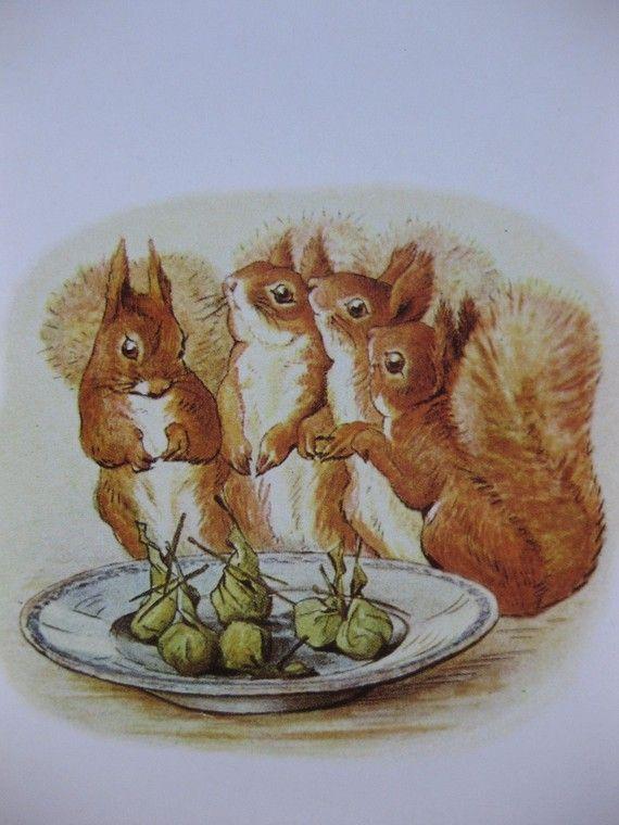Let us start eating, vintage Beatrix Potter postcard.