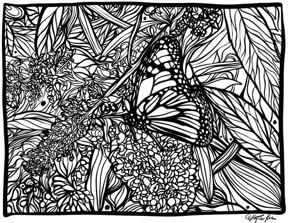 Butterfly 1 Instant Download Zen Coloring Page PDF | Etsy ...