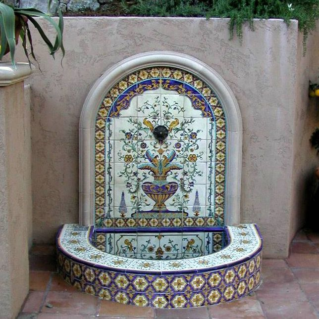 Mediterranean Exterior Of Home With Pathway Fountain: Tiled Mediterranean Fountain