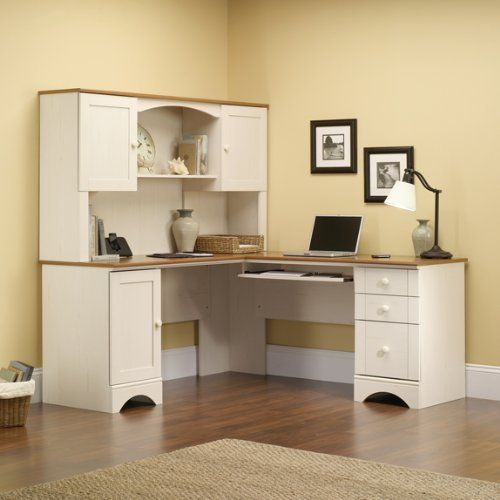 Sauder Harbor View Corner Computer Desk with Hutch - Antiqued White - Harbor View Antique Cream Reversible LDesk With Hutch American