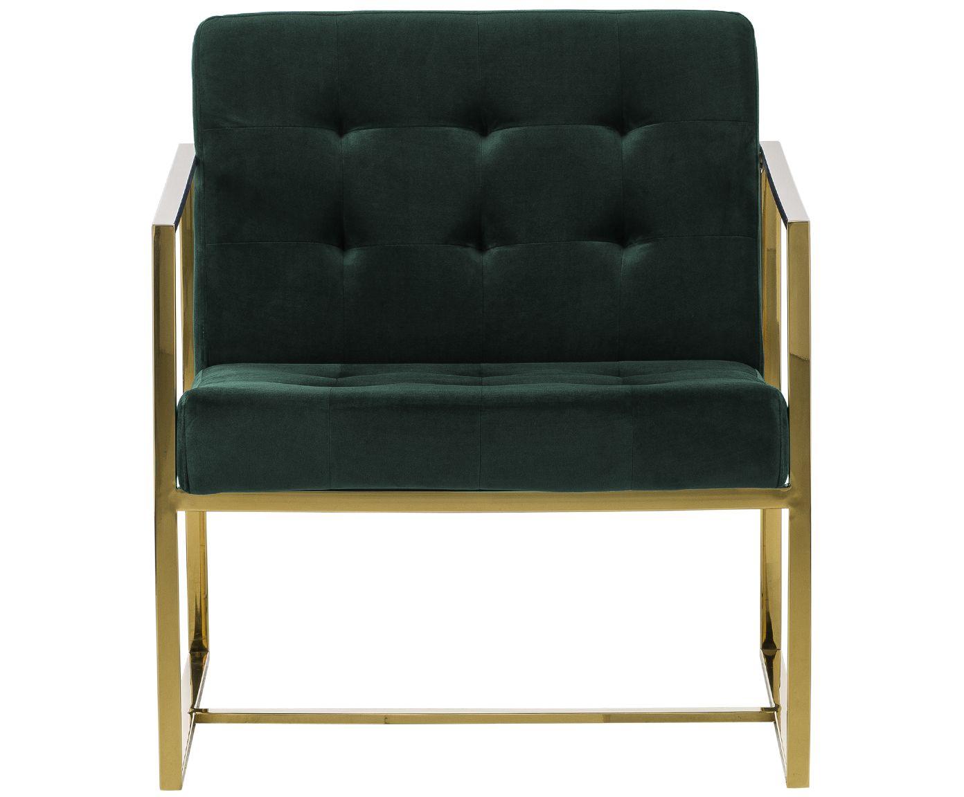 Sedia a poltrona in velluto verde Manhattan | WestwingNow ...