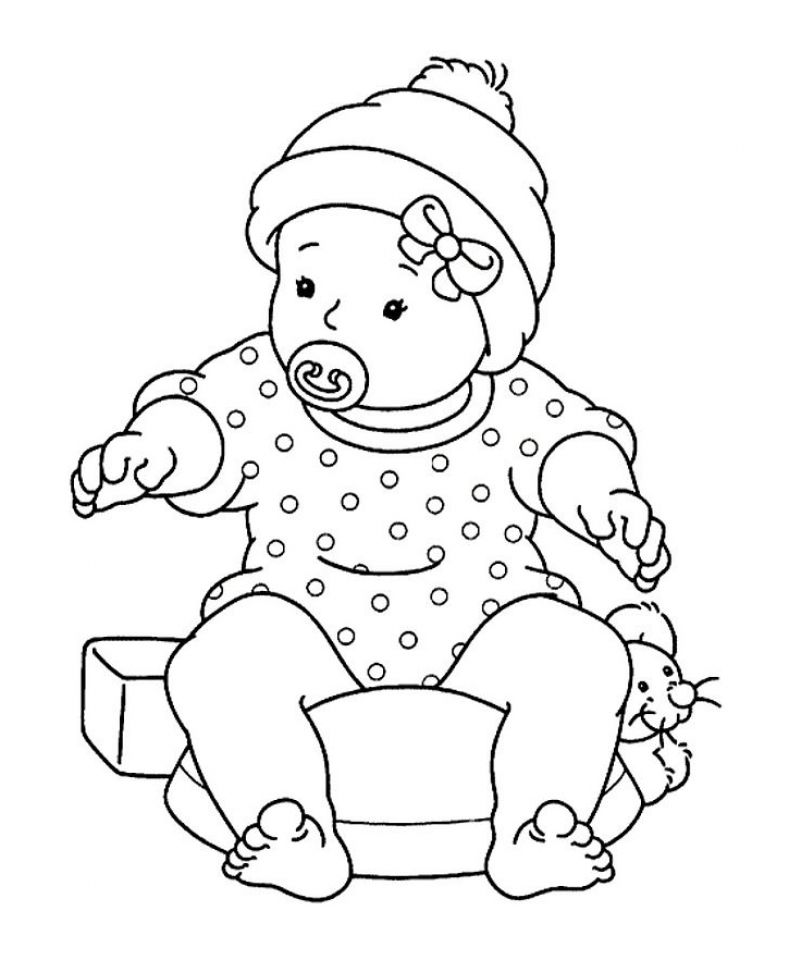 Baby Girl Sitting With Pacifier Baby Coloring Pages Coloring