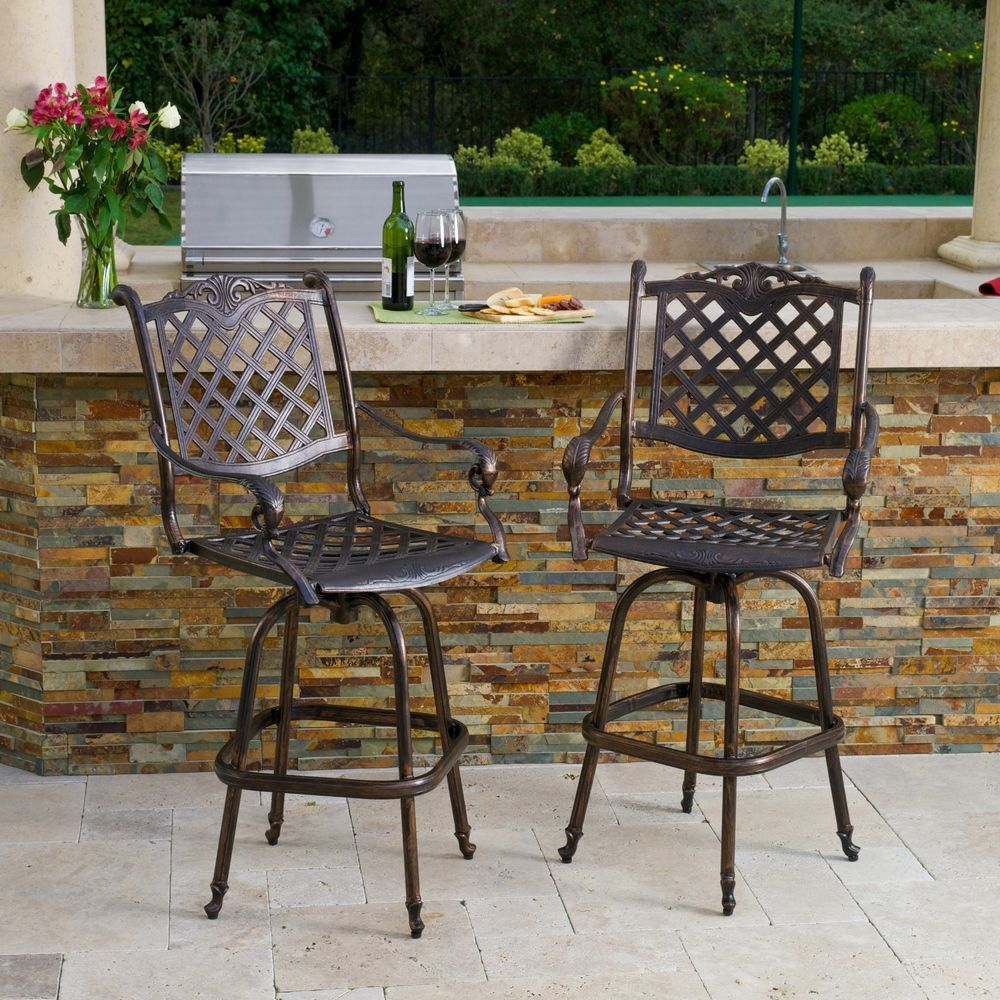 Set Of 2 Outdoor Patio Furniture Cast Aluminum Swivel Barstools, Antique  Copper