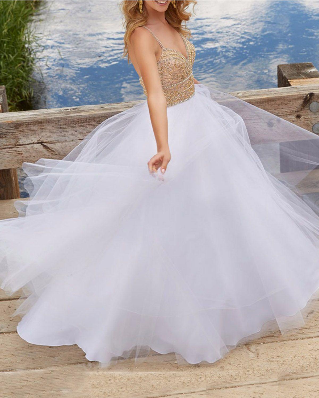 White tulle long aline gold sequin wedding dress sweetheart formal