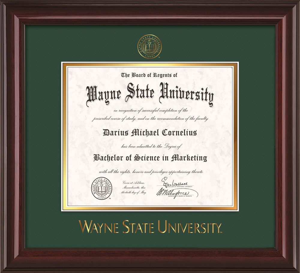 Wayne State University Diploma Frame Mahogany Lacquer W Embossed Wsu Seal Wordmark Green On Gold M Diploma Frame Wayne State University Troy University
