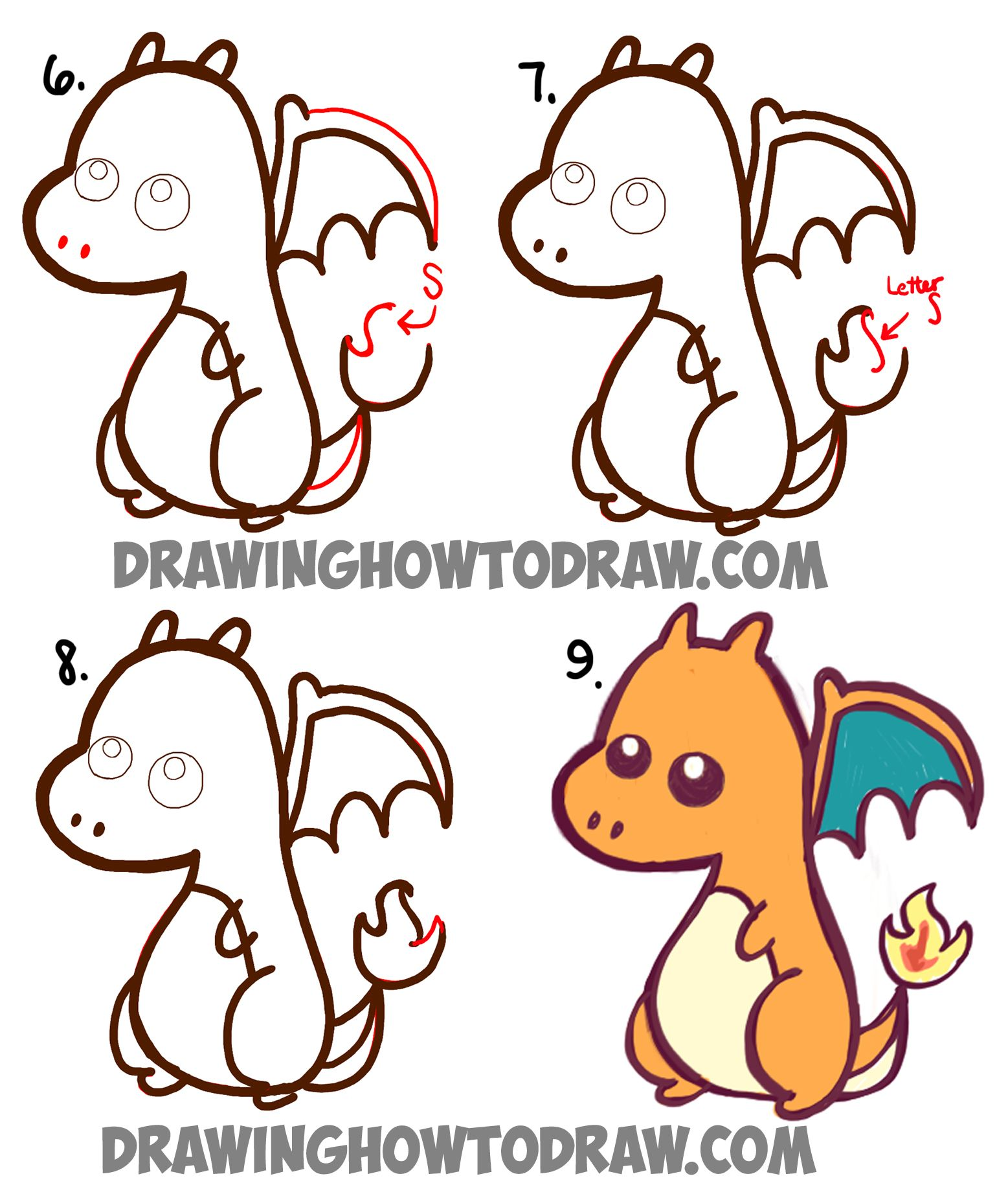 Learn how to draw a cute chibi charizard easy step by step for How to draw easy stuff but cute