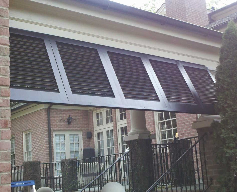 Create Awning From Bahama Shutters On A Breeze Way By The Louver Shop Shutters Exterior Shade House Bahama Shutters