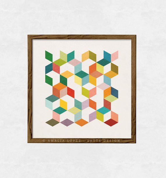 Top 3 géométrique. Milieu du siècle moderne affiche au milieu du  CE28