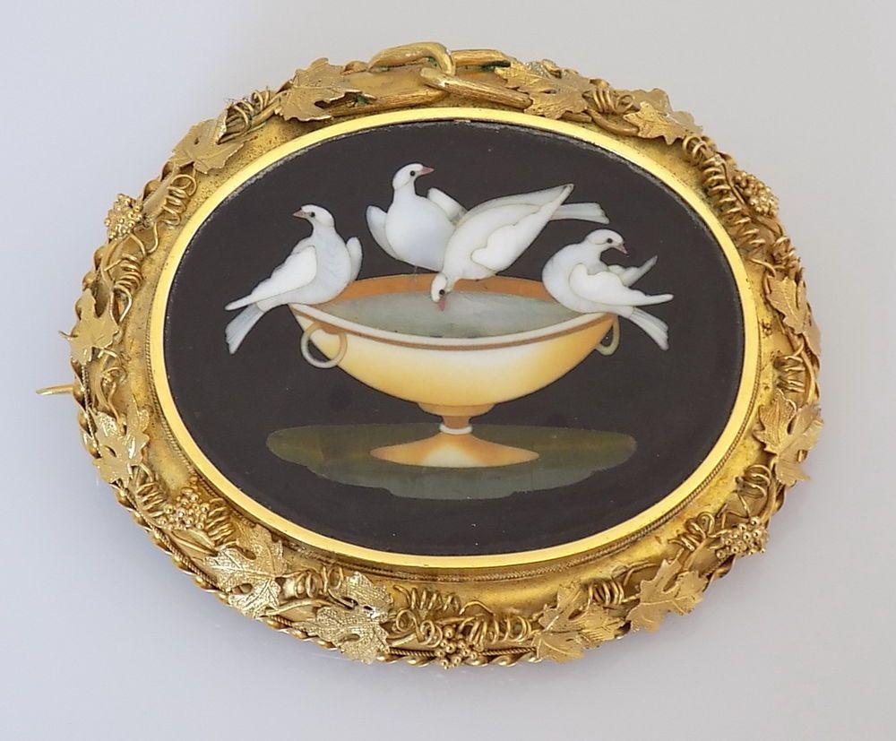 Museum Quality Victorian 18CT Gold & Pietra Dura Pliny`s