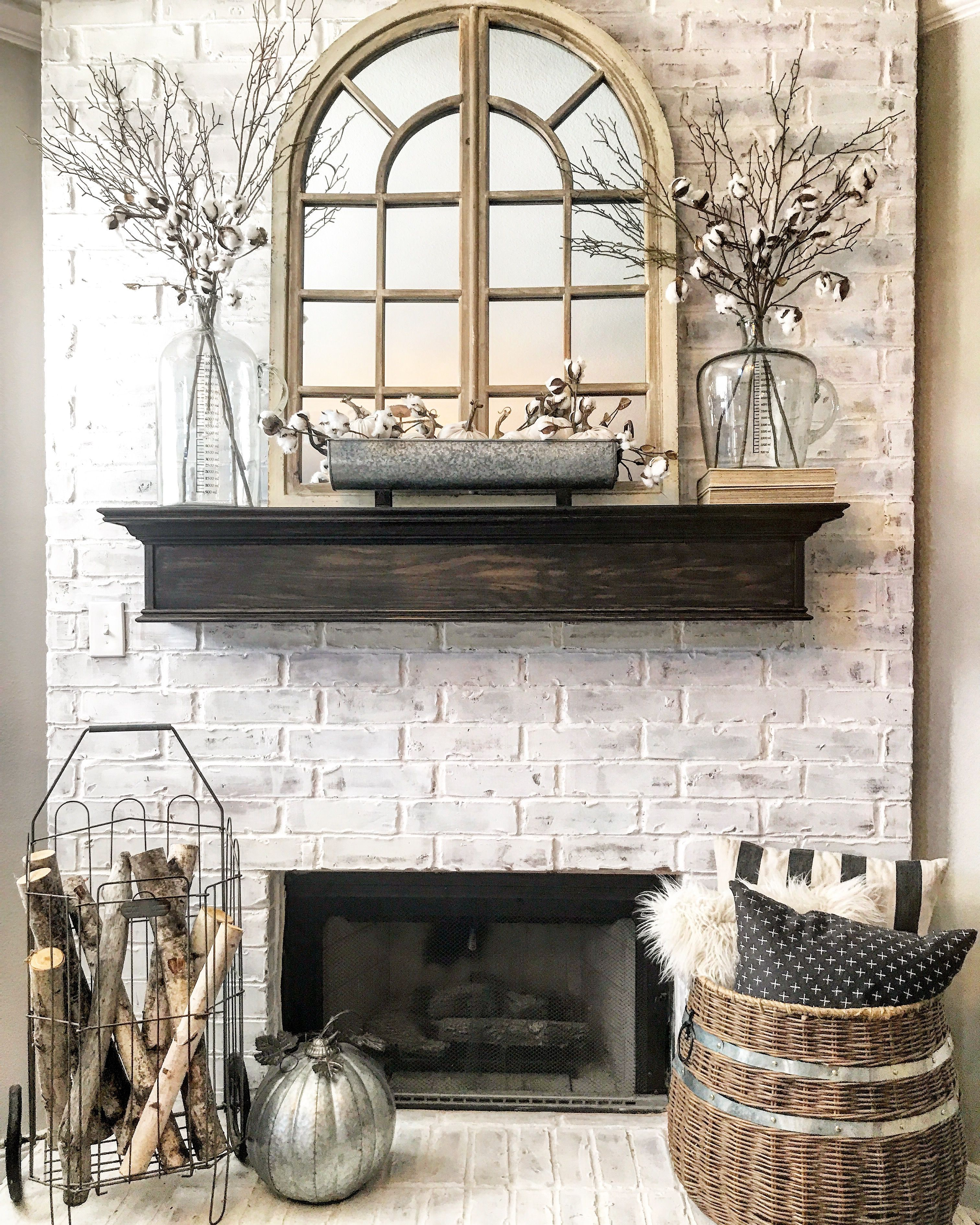 Simple fall farmhouse style mantle by Whimsy