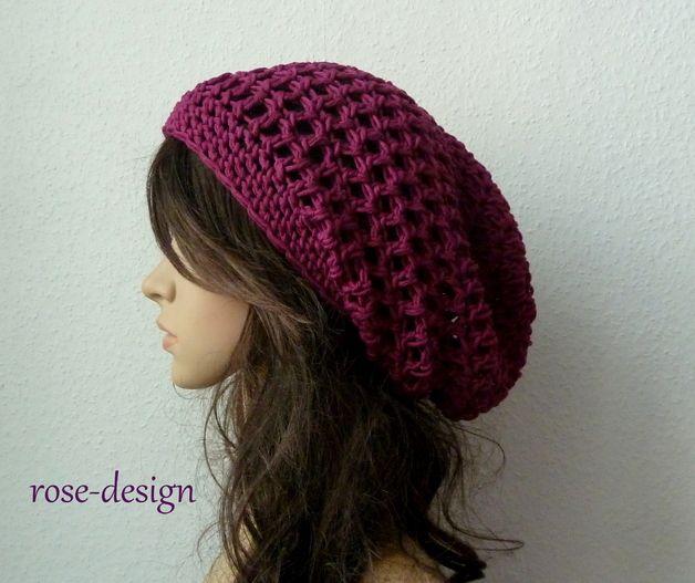 Sommer+crochet+design | Sommer Beanie♥ Boho,Crochet in Fuchsia ...
