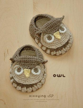 Crochet Baby Pattern Owl Booties Owl Baby Booties Owl Preemie Socks ...